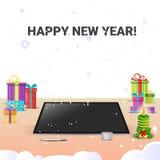 Decoração decorada da venda do Natal do Internet do ano novo feliz do computador do local de trabalho ilustração stock
