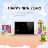 Decoração decorada da venda do Natal do Internet do ano novo feliz do laptop do local de trabalho ilustração royalty free