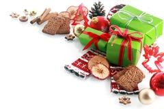 Decoração decorativa do canto do Natal Fotos de Stock Royalty Free