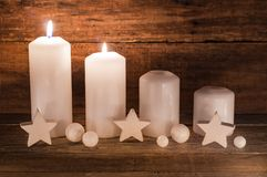 Decoração do advento com velas Fotografia de Stock