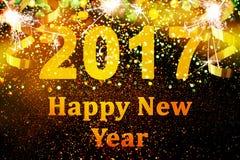 Decoração do ano novo, close up em fundos dourados Fotos de Stock