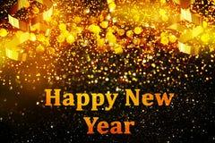 Decoração do ano novo, close up em fundos dourados Foto de Stock