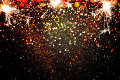 Decoração do ano novo, close up em fundos dourados Fotografia de Stock Royalty Free