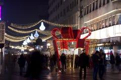 Decoração do ano novo de Knez Mihailova Imagens de Stock