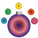 Decoração do ano novo para a árvore de Natal ilustração do vetor