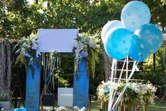 Decoração do balão no banquete de casamento Fotografia de Stock