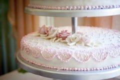 Decoração do bolo de casamento Fotos de Stock Royalty Free