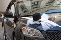 Decoração do carro do casamento Fotografia de Stock Royalty Free