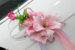 Decoração do carro do casamento Fotos de Stock Royalty Free