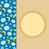 Decoração do cartão do convite da lua da nuvem Imagens de Stock Royalty Free