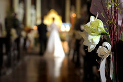 Decoração do casamento da flor branca Fotografia de Stock