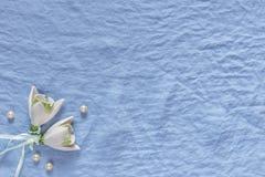 Decoração do casamento Flores cerâmicas brancas, pérolas em vagabundos de uma tela do azul Imagens de Stock Royalty Free