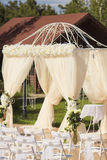 Decoração do casamento na cor branca Foto de Stock