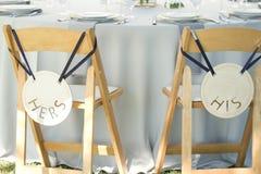 A decoração do casamento preside seu o seu noivo da noiva imagem de stock
