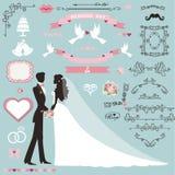 A decoração do convite do casamento ajustou-se com pares, beiras de roda ilustração royalty free