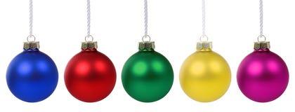 Decoração do deco das cores das quinquilharias das bolas do Natal isolada fotos de stock