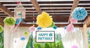 Decoração do evento na festa de anos foto de stock royalty free