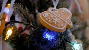 Decoração do feriado do Natal com cookie do pão-de-espécie video estoque