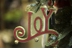 Decoração do feriado o ornamento da alegria da palavra Foto de Stock