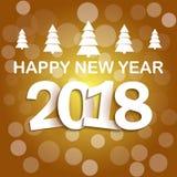 Decoração 2018 do fundo do ano novo feliz Confetes do molde 2018 do projeto de cartão Ilustração do vetor da data 2018 Foto de Stock Royalty Free