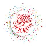 Decoração 2018 do fundo do ano novo feliz Confetes do molde 2018 do projeto de cartão Ilustração do vetor da data 2018 anos Fotografia de Stock Royalty Free