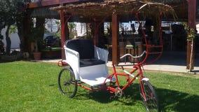 Decoração do jardim da cunha da bicicleta fotografia de stock