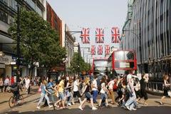 Decoração do jubileu de diamante da rainha, rua de Oxford Foto de Stock