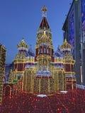Decoração do Kremlin de Moscou pelo ano novo do Natal Rússia fotos de stock