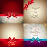 A decoração do Natal ajustou - a curva da fita com bokeh Imagens de Stock