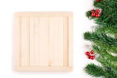 Decoração do Natal Beira do Natal isolada no branco com espaço da cópia Acima da vista Fotos de Stock Royalty Free