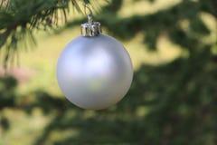 Decoração do Natal, bola de prata que pendura na árvore de abeto sobre o fundo verde Foco seletivo Fotos de Stock
