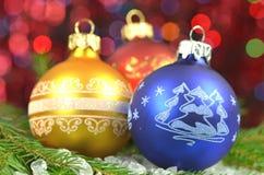 Decoração do Natal, bolas coloridas do Natal Foto de Stock