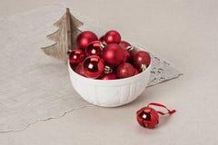 Decoração do Natal Bolas e Bels vermelhas naughty imagem de stock royalty free