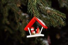 Decoração do Natal com árvore, anjo e fitas de Natal Fotos de Stock Royalty Free