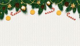 Decoração do Natal com árvore de abeto, presente, bastões de doces em k branco Foto de Stock Royalty Free