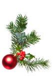 Decoração do Natal com azevinho e bauble. Fotografia de Stock