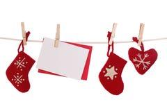 Decoração do Natal com cartão em branco Foto de Stock Royalty Free