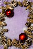 Decoração do Natal com cones e as quinquilharias vermelhas Imagem de Stock