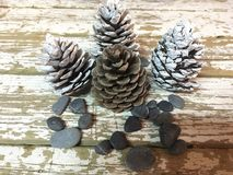 A decoração do Natal com cones do pinho coloriu as pedras brancas e vermelhas na madeira foto de stock