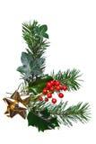 Decoração do Natal com curva do azevinho e do ouro Fotos de Stock Royalty Free
