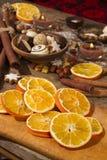 Decoração do Natal com fatias de laranjas secadas Foto de Stock Royalty Free