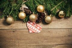Decoração do Natal com fundo de madeira Foto de Stock Royalty Free