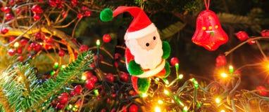 Decoração do Natal com luzes Imagens de Stock Royalty Free