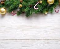 Decoração do Natal com pele e quinquilharias Fotografia de Stock