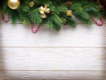 Decoração do Natal com pele e quinquilharias Imagens de Stock Royalty Free