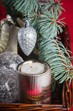 Decoração do Natal com presentes e balões Imagens de Stock Royalty Free