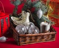 Decoração do Natal com presentes e balões Fotografia de Stock