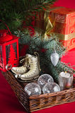 Decoração do Natal com presentes e balões Fotos de Stock