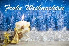 Decoração do Natal com texto no ` alemão de Frohe Weihnachten do ` Imagens de Stock Royalty Free
