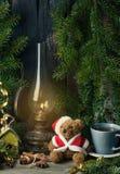 Decoração do Natal com urso de peluche Foto de Stock